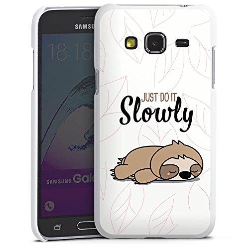 DeinDesign Hard Hülle kompatibel mit Samsung Galaxy J3 Duos 2016 Schutzhülle weiß Smartphone Backcover Tiere Faultier Lazy S&ay
