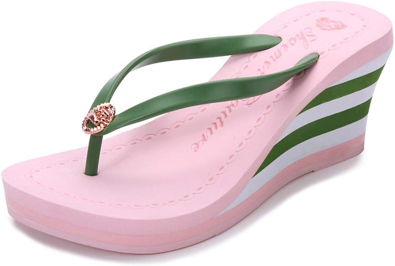 T-JULY New Women Summer Luxury Wedges High Heels Platform Stripe Causal Flip-Flops Beach Slippers