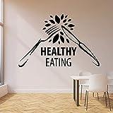 wopiaol Tatuajes de Pared Dieta Nutrición Alimentación Saludable Tenedor Cuchillo Alimentos orgánicos Vinilo Ventana Pegatinas Cocina Restaurante Decoración Arte Mural