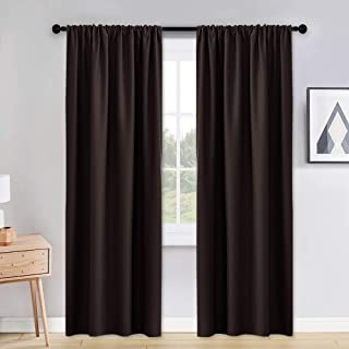 PONY DANCE Living Room Curtains - 42 x 90 inches Brown Home Decoration Room Darkening Thermal Insulated Blackout Window Treatments/Draperies Block Light Protect Privacy, 2 Pieces