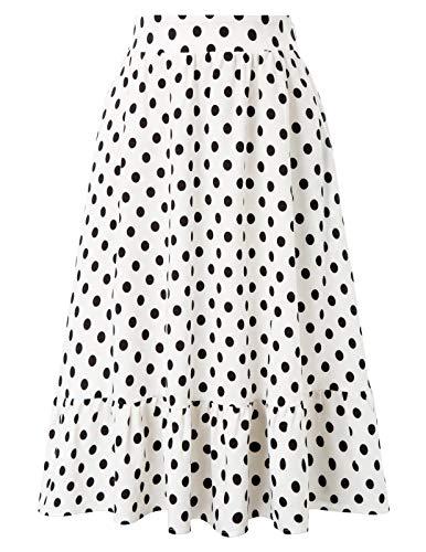 Faldas de té de Cintura elástica con Lunares de Las Mujeres de los años 50 con 2 Bolsillos para Fiesta de Picnic Blanco # 2054 M