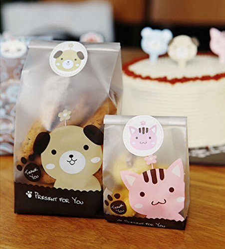 Yunko Clear Treat Bag Cookie Bag 50-pieces with Free Stickers (Kitty)