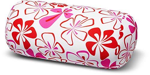 Invitalis Nackenrolle mit Mikroperlen in 19 Farben - Öko tex Standard 100 - Orthopädisches Relaxkissen als Kopfkissen, Reisekissen und Nackenkissen Zuhause oder auf Reisen - Blumen Rot Weiß Pink