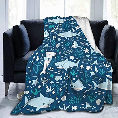 Shark and Sealife Flannel Fleece Blanket