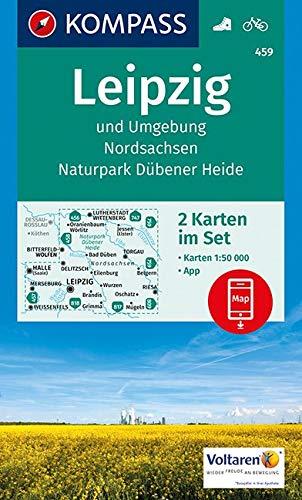 KOMPASS Wanderkarte Leipzig und Umgebung, Nordsachsen, Naturpark Dübener Heide: 2 Wanderkarten 1:50000 im Set inklusive Karte zur offline Verwendung ... (KOMPASS-Wanderkarten, Band 459)