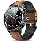 GOKOO Reloj Inteligente Hombres Pulsómetro Sueño Caloría Información Notificación Smartwatch Reloj Deportivo Pantalla Táctil Completa Impermeable IP68 Compatible con Android iOS(marrón)