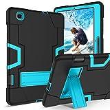 BENTOBEN Funda Samsung Galaxy Tab S6 Lite Heavy Duty 3 en 1 Carcasa Case Cover Función de Soporte Plegable TPU+PC Duro y Anti-arañazos Funda para Samsung Galaxy Tab S6 Lite,Negro y Azul
