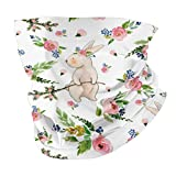Watercolor Easter Bunnies Spring Floral On WhiteHead Scarf Balaclava Anti Dust Multifunctional Bandanas for Outdoors Sports Black