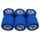 PintoMed - Vendaje cohesivo azul estirado 6 rollos x 5 cm x 4,5 m vendajes flexibles autoadhesivos, calidad profesional, vendajes deportivos de primeros auxilios, paquete de 6