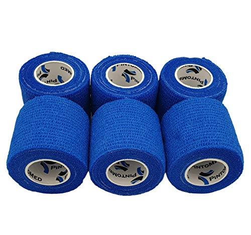 PintoMed - Blau Haftbandage gedehnt 6 Rollen x 5 cm x 4,5 m selbstklebende flexible Bandagen, professionelle Qualität, Erste-Hilfe-Sportbandagen – 6 Stück