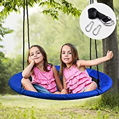 Quality Construction: Our Tree Swing is built out of the strongest materials 900D Oxford polyester more durable And Thicker Than 600D, weather resistant and can handle years of outdoor use. Large Size: The Outdoor Saucer Tree Swing is 40'' diameter, ...