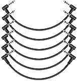 donner cavi patch per effetti per chitarra classico jack dia 6,35mm, cavetto per strumenti musicali ts mono per chitarra/basso pedaliera effetti, lunghezza 30cm, 6 unità, colore: nero