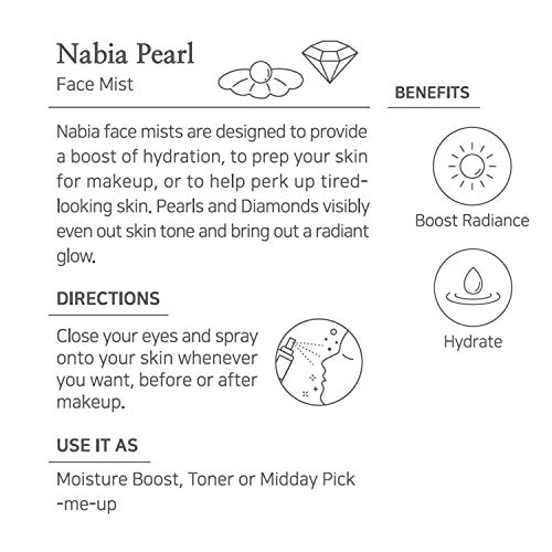 Nabia Hydrating Pearl Face Mist with Pearl extract, 3.38 Fl Oz