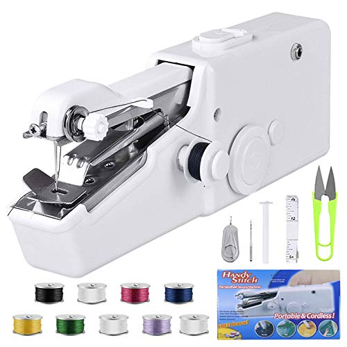 Mini Sewing Machine, Beginner Electric Handheld Sewing Machine Cordless Quick Handy Stitch Fabric Clothing Kids Cloth Pet Clothes DIY Home/Travel Use