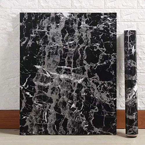 """Black Granite Wallpaper Marble Wall Paper Top Film Vinyl Self Adhesive Peel-Stick Wallpaper (17.8""""x78.7"""")"""