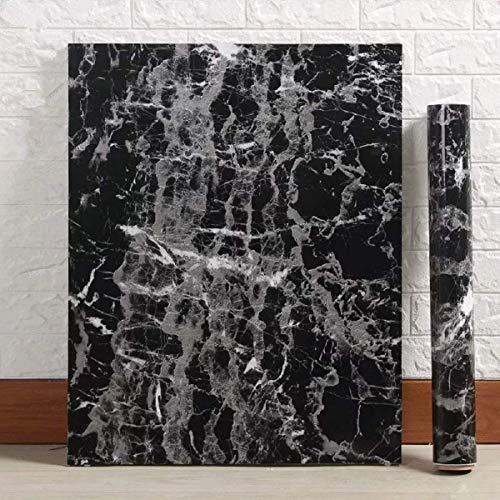 Black Granite Wallpaper Marble Wall Paper Top Film Vinyl Self Adhesive Peel-Stick Wallpaper (17.8'x78.7')
