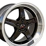 OE Wheels LLC 17 Inch Fit Ford Mustang Cobra R Deep Dish Black Mach'd Lip 17x10.5/17x9 Staggered Rims SET