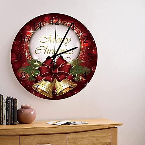 Reloj de pared de madera redondo silencioso sin tictac de 10 pulgadas, feliz Navidad, lazo rojo brillante, cascabeles, números romanos, reloj de manos, decoración del hogar para cocina, sala de estar,