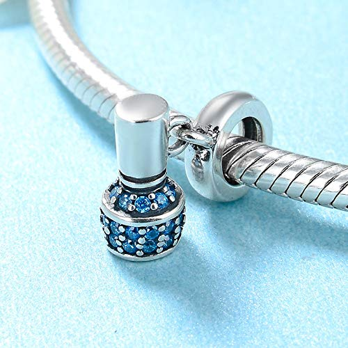 DASFF Charming Female Blue CZ Nagellack 925 Sterling Silber Perlen Fit Original Charm Armbänder Silber Schmuck DIY