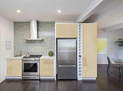 Aufkleber für Küchenschränke 63x500cm GLANZ - Folie aus hochwertigem PVC Tapeten Küche Klebefolie Möbel wasserfest für Schränke selbstklebende Folie Küchenfolie Dekofolie - Beige