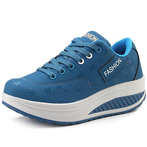 Solshine Damen Fashion Plateau Schnürer Sneakers mit Keilabsatz Walkmaxx Schuhe Fitnessschuhe Blau 42EU