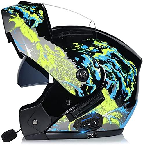 Motorbike Helmet Frente plegable integrado para adultos Casco de motocicleta con Bluetooth, aprobado por DOT / ECE Casco de motocicleta para adolescentes Hombres Mujeres Adultos Cascos de protección