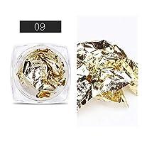 1ボックスゴールドシルバー不規則アルミホイルゴールド3Dカラフルな薄片DIYポーランドネイルアートステッカー装飾のヒント liaodingqin (Color : 09)