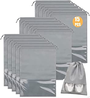 15 Pcs Large Travel Storage Shoe Bags, Waterproof Shoe Bag for Gym,Travel, Portable Shoe Pouch Organizer Non-Woven Fabric ...