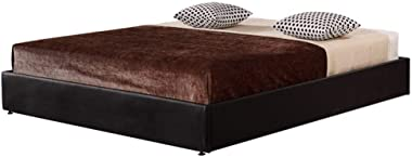 PU Leather Queen Bed Ensemble Frame - Black