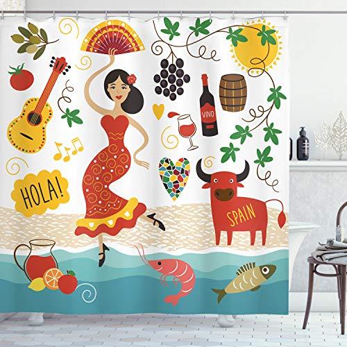 ABAKUHAUS Spanien Duschvorhang, Bull Gitarre & Tänzer, Wasser Blickdicht inkl.12 Ringe Langhaltig Bakterie & Schimmel Resistent, 175 x 180 cm, Rot Creme