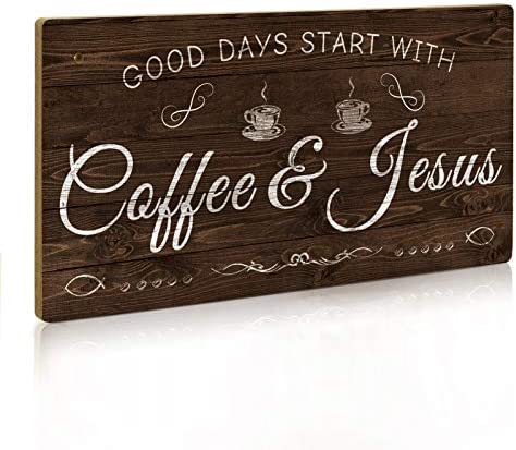 Putuo Decor Coffee Sign Kitchen Coffee Bar Decor 12 x 6 Hanging Plaque Gifts for Coffee Lover product image
