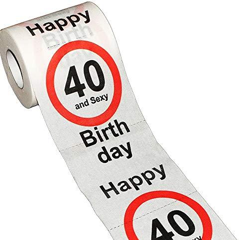 KMC Austria Design Geburtstag Toilettenpapier mit Aufdruck Verkehrszeichen Happy Birthday 40 and Sexy - Klopapier WC-Papier