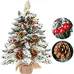 【26 Inch Snow Flocked Christmas Tree】26 Inch tall and 18 inch in diameter lifelike snow flocked Mini Christmas Tree. Including 45 Red Berries, 7 big 2.5 Inch Pine Cones. Sturdy metal tree stand and firm wood burlap base to keep your tree standing. 【5...