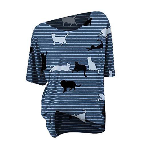 T-Shirt Damen Katze Streifen Retro Kurze Ärmel Rundhals Top Lässige Lose Kurzarm Tunika Bluse Shirt Oberteil Kleidung