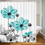 Unique Floral Shower Curtain for Bathroom Decor, Teal and Gray Daisy Flower Elegant Wildflower Design Farmhouse Shower Curtains with Hooks Set, 71X71 Inches