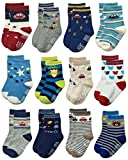 RATIVE Non Skid Anti Slip Crew Socks With Grips For Baby Toddlers Boys (3-9 Months, 12 designs/RB-71218)