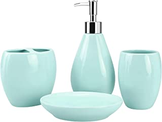 4-Piece Ceramic Bathroom Accessory Set, Bathroom Accessories Set Includes Soap Dispenser, Toothbrush Holder, Tumbler, Soap Dish, Complete Bathroom Ensemble Sets for Bath Decor, Ideas Home Gift (Green)