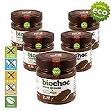 bioChoc 5 Cremas de cacao con Aceite de Oliva Virgen Extra Ecológico. Crema de cacao para untar VEGANA - SIN GLUTEN - SIN LECHE - SIN ALÉRGENOS