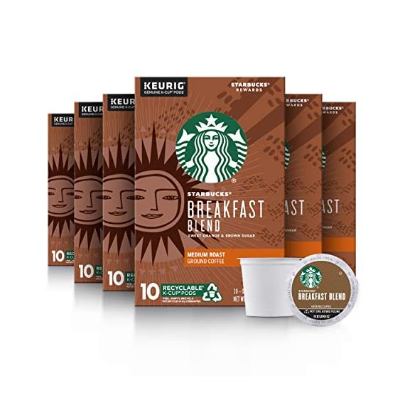 Starbucks Medium Roast K-Cup Coffee Pods — Caramel for Keurig Brewers — 6 boxes (60 pods total) 1 FLAVOR AND ROAST: A lighter, gentler take on the Starbucks roast, Starbucks Veranda Blend is flavorful without being overly bold PACKAGING CHANGE: We are currently updating our packaging look. You may receive either package for a limited time FOR KEURIG BREWERS: Starbucks K-Cup pods are designed for use with the Keurig Single Cup Brewing System