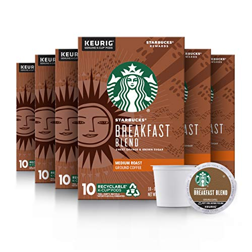 Starbucks Medium Roast KCup Coffee Pods — Breakfast Blend for Keurig Brewers — 6 boxes 60 pods total