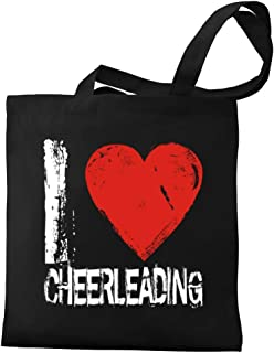 Eddany I love Cheerleading Grunge Style Canvas Tote Bag