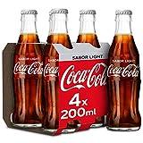Coca-Cola Light - Refresco de cola sin azúcar, sin calorías - Pack 4 botellas de vidrio 200 ml