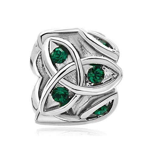 ReisJewelry Heart Best Friend Irish Claddagh Celtic Trinity Knot Charm Green Crystal Charms for Bracelet (Celtic Trinity Knot Love)