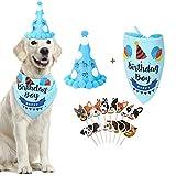 Vavopaw Juguete de Bufanda Triangulo, Sombrero, Banderas de Pastel para Perro Gato, Bandana Triangular Ajustable de Algodón Suave, Accesorios de Cumpleaño para Mascota, Animal Doméstico, Azul