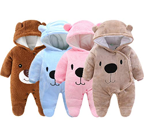 Urban Virgin Cute Baby Toddler Newborn Girls Boys Bear Bodysuit Snowsuit Warm Fleece Hooded Jumpsuit Romper Winter Outfits, Beige, 0-3 Months