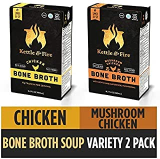 Bone Broth Variety Pack, Mushroom Chicken and Chicken by Kettle and Fire, Keto Diet, Paleo Friendly, Whole 30 Approved, Gluten Free, with Collagen, 10g of protein, 16.2 fl oz (Pack of 2)