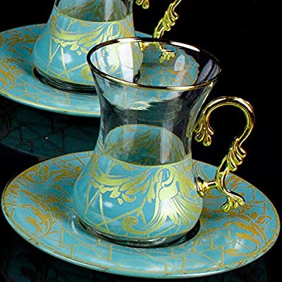 Vintage Turkish Tea Glasses Cups and Saucers Set of 6 for Party Adult Persian Gold Decorative Serving Teacups Teapot Gift Home Women Coffee Espresso Moroccan Afternoon 4.5 oz (135ml)