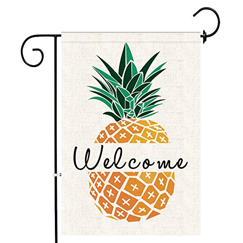 Bonsai Tree Pineapple Garden Flag Welcome, Double Sided Premium Burlap Pineapple Flag 12x18 Inch for Summer Yard Outdoor Decoration with Rubber Stopper and Anti-Wind Clip