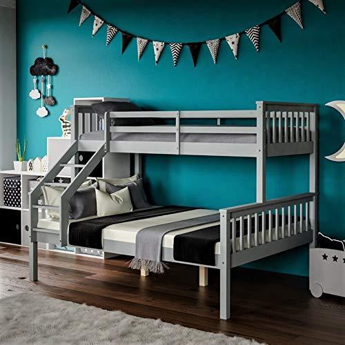 Litera triple de 3 pies individual de madera de pino macizo, literas triples para adultos y niños en gris y blanco (gris seda)