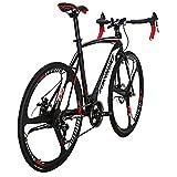Eurobike Dual Disc Brake XC550 Road Bike 21 Speed Shifting System 54Cm Steel Frame 700C 3-Spoke Wheels Road Bicycle